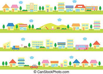 Läden und Häuser auf einer Straße