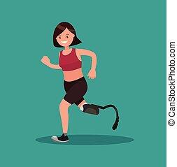 Lähmliche Sportlerin, die auf der Prothese läuft.