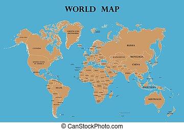länder, namen, landkarte, welt