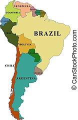 länder, namen, süden, vektor, landkarte, amerika