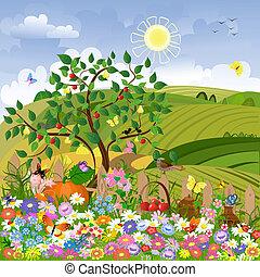 ländliche Landschaft mit einem Zaun