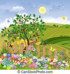 ländliche Landschaft mit Obstbäumen und einem Zaun