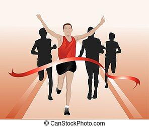 Läufer überqueren die Ziellinie, Illustration