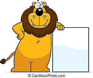 Löwe lehnt sich