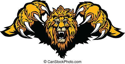 Löwe Maskottchen prallt auf Graphikvektor