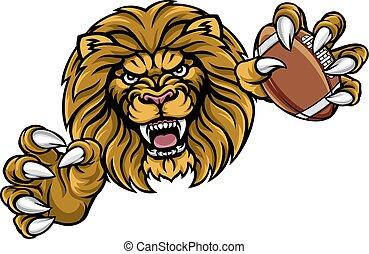 Löwen-Amerikaner-Football-Sport-Maskottchen.