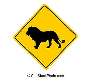 Löwen-Warnzeichen.