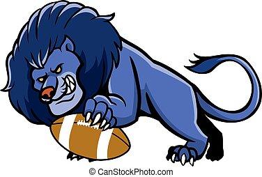 Löwenfußballmaskottchen.
