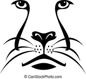 Löwengesicht Silhouette Logo