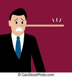 Lügender Mann mit langer Nase
