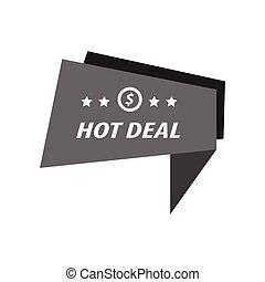 Label Hot Deal Black Farbe.