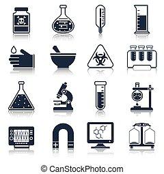 Laborgeräte sind schwarz.