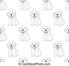 Labrador Golden Retriever Hund nahtlos auf weißem Hintergrund