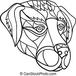 Labrador Hundekopf Mosaik schwarz und weiß.