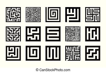 Labyrinth Symbolsammlung. Maze Icon Set Vektor