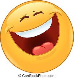 Lachen laut mit geschlossenen Augen.