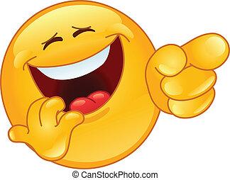 Lachen und emoticon zeigen