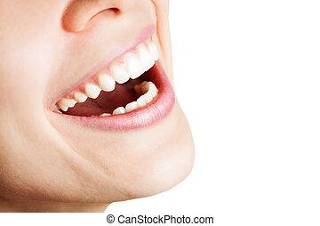 Lachen von glücklichen Frauen mit gesunden Zähnen