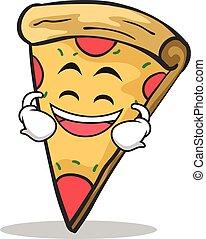 Lachende Gesichtspizza Charakter Cartoon.