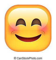 Lachender Emoticon. Frohes Lächeln