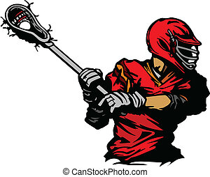 lacrosse spieler, kugel, illus, wiegen