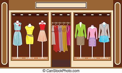 laden, boutique., kleidung, frauen