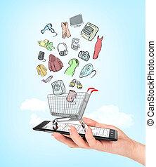 laden, shoppen, besitz, bunte, concept., karren, hand, telefon, e-commerce., weibliche , online, goods., zeichnung, leerer , steht