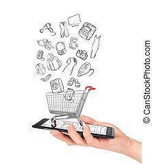 laden, shoppen, besitz, concept., karren, hand, telefon, e-commerce., weibliche , online, goods., zeichnung, leerer , steht