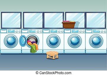 laden, wäscherei, voll, waschmaschinen