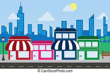 Ladenfronten und Himmelsgebäude