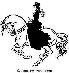 Lady auf einem schwarzen Pferd