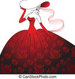 Lady in rotem Abendkleid