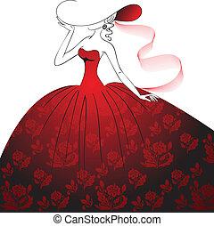 Lady in rotem Kleid und Hut