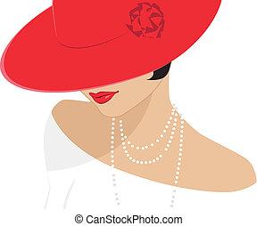 Lady mit rotem Hut