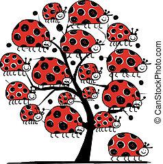 Ladybird-Familie, Kunstbaum für Ihr Design