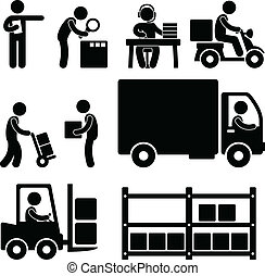 lager , auslieferung, logistisch, ikone
