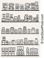 Lagerhäuser mit Waren.