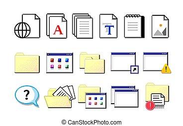 lagerung, icons., retro, wohnung, nostalgischer , freigestellt, symbole, informationen, gelber , blätter, weißes, set., documents., daten, vektor, alter stil, elektronisch, pixel, edv, organization., ordner, signs.