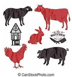 lamm, kuh, metzger, laden, tier, lebensmittel, schweinefleisch, set., market., silhouette., rindfleisch, bauernhof, speicher, schwein, metzger, schafe, schnitt, plakat, landwirt, huhn, fleisch, chicken.