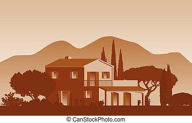 land, mittelmeer, bäume, daheim, hintergrund, stil, vektor, berge