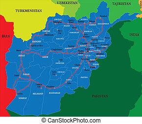 landkarte, afghanistan