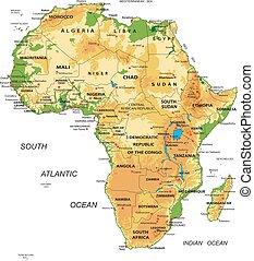 landkarte, africa-physical