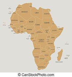 landkarte, afrikas, politisch, abbildung, etikettiert, vektor, namen, spanish., land, editable, layers., deutlich