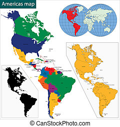 landkarte, americas
