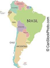 landkarte, amerika, hintergrund, land, politisch, freigestellt, abbildung, etikettiert, vektor, namen, spanish., editable, weißes, layers., deutlich, süden