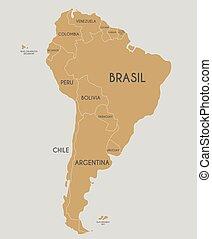 landkarte, amerika, land, politisch, abbildung, etikettiert, vektor, namen, spanish., editable, layers., deutlich, süden