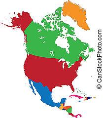 landkarte, amerika, nord, bunte