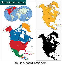 landkarte, amerika, nord