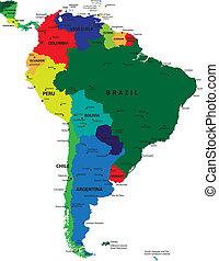 landkarte, amerika, politisch, süden