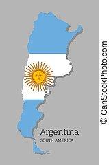 landkarte, argentinien, nationales kennzeichen